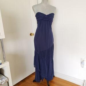 YA Los Angeles Women's Navy Blue Long Strapless Ma